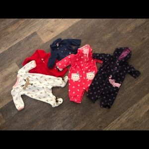 Newborn fleece onesies and coats